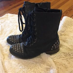 Candies black and silver stud combat boots
